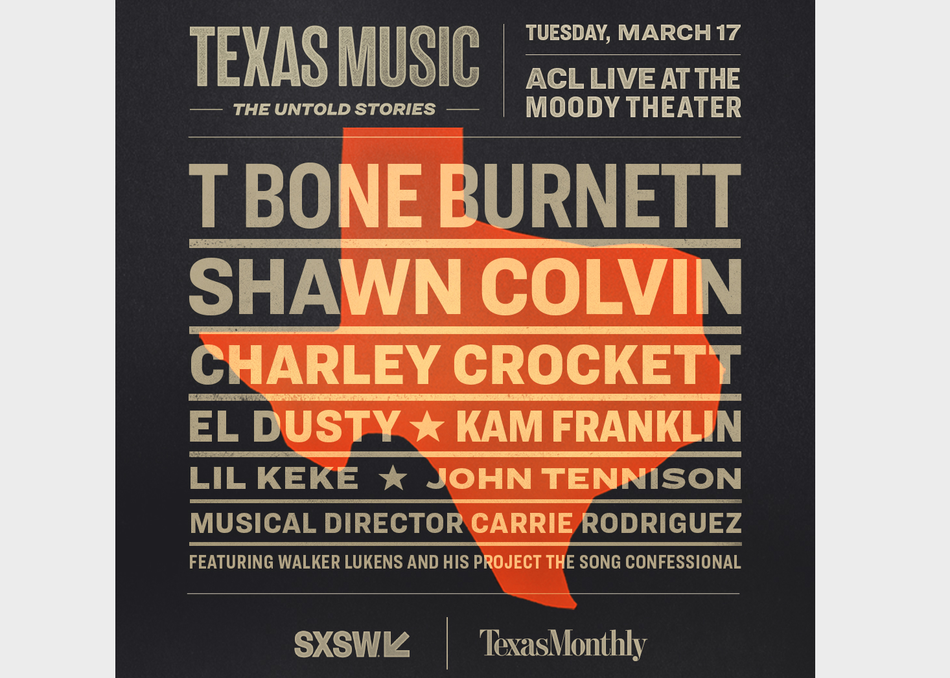 T Bone Burnett, El Dusty, Shawn Colvin, Lil Keke, Kam Franklin, John Tennison, Charley Crockett and featuring Walker Lukens. Musical Director Carrie Rodriguez